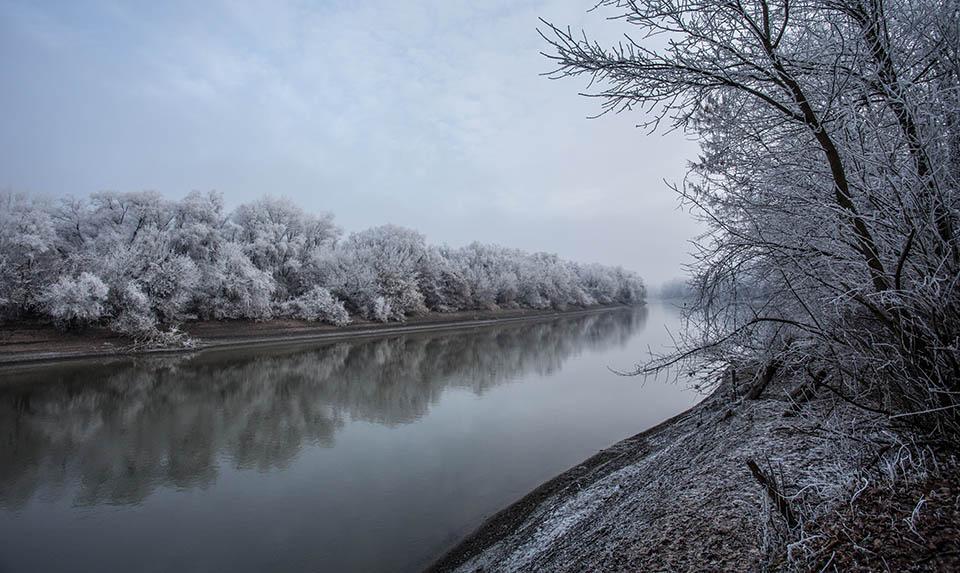 Winter scenery of Gyomaendrőd, Hungary